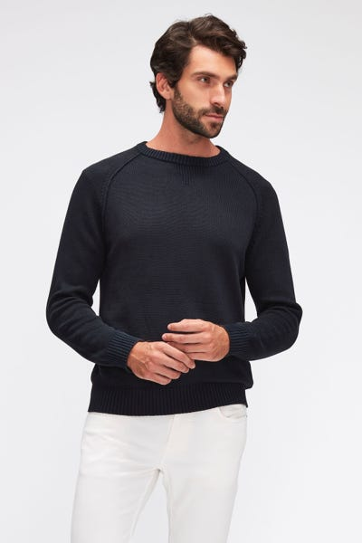 RAGLAN CREW NECK COTTON LINEN  NAVY