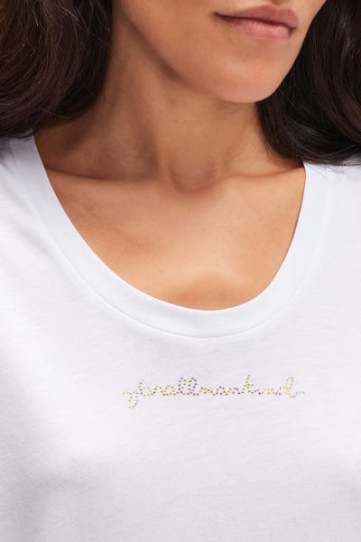 LOGO TEE CUTIL W/EMBELLISHMENT WHITE