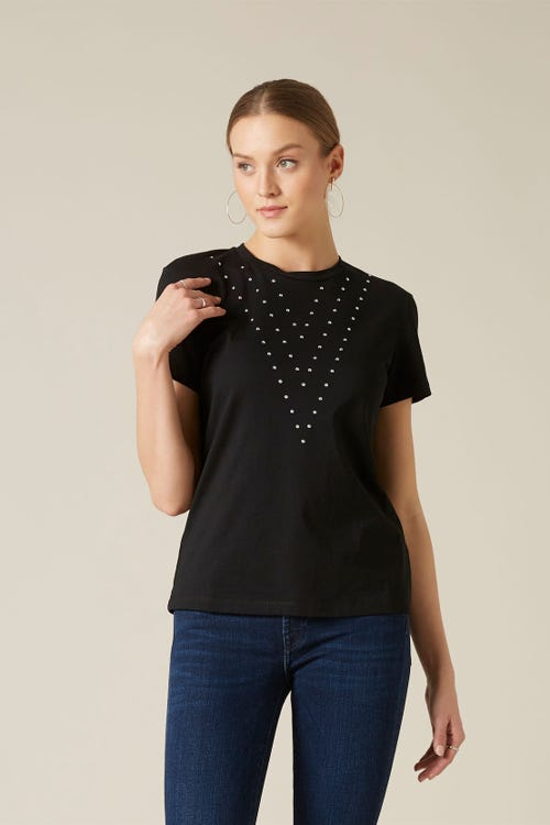 STUDDED TEE COTTON BLACK WITH STUDS