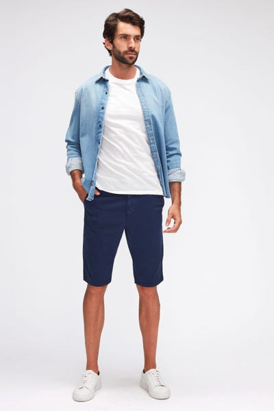 SLIMMY CHINO SHORTS TEXTURED  NAVY