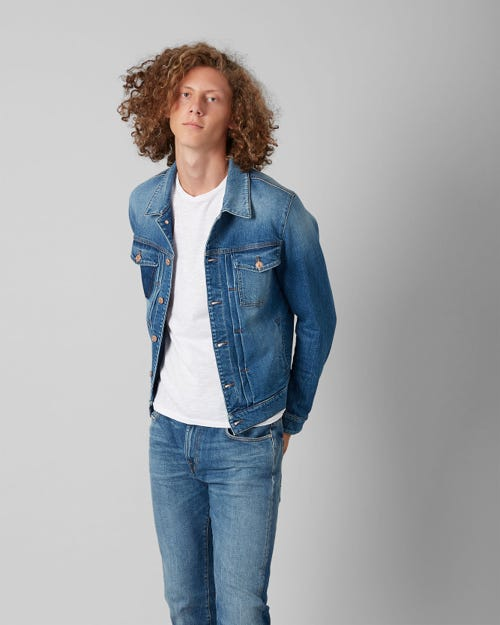 TRUCKER PLEATED JACKET BROADWAY SHADOW MID BLUE