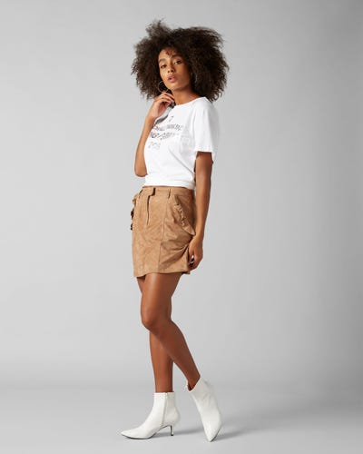 7 For All Mankind - Skirt Suede Whiskey With Ruffles