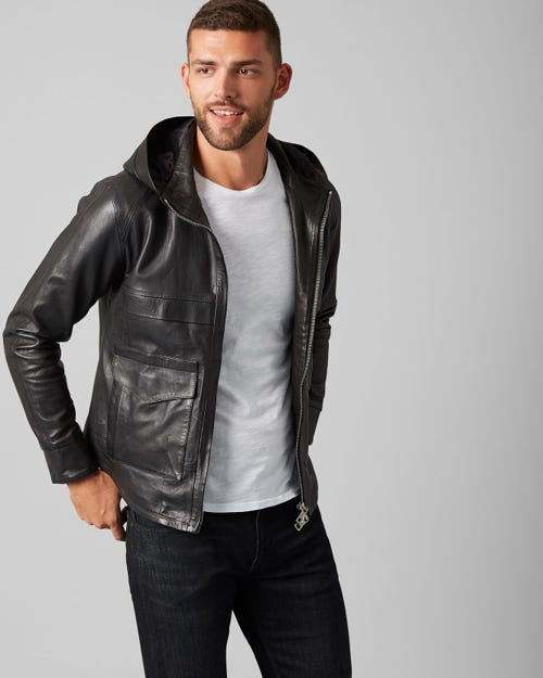 HOODIE JACKET LEATHER PURE BLACK