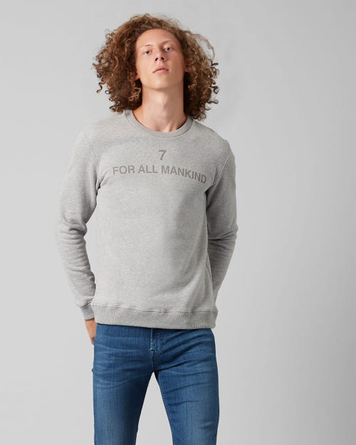 7 For All Mankind - Crew Neck Sweat Cotton Logo Grey Melange