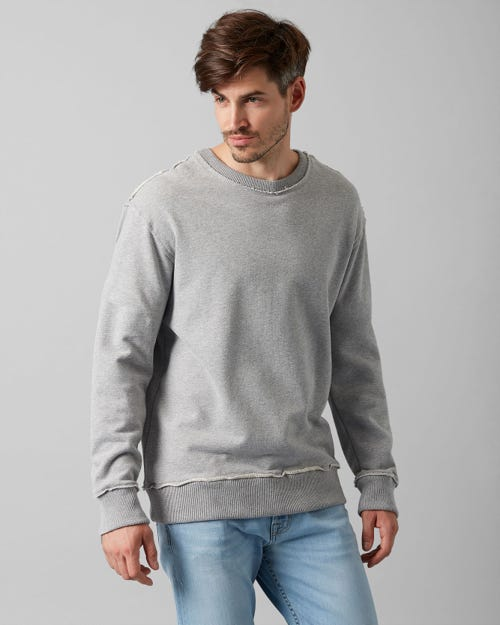 7 For All Mankind - Crew Neck Sweat Cotton Raw Edge Grey Melange