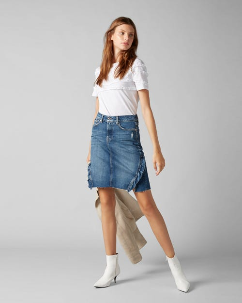 7 For All Mankind - A-Line Skirt Vintage Sycamore With Ruffles