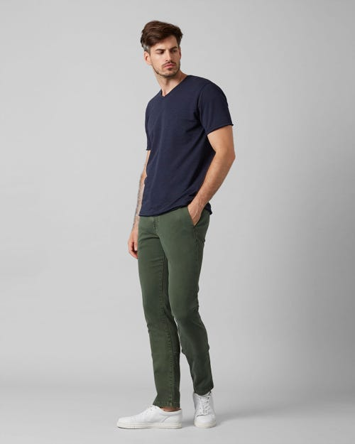 EXTRA SLIM CHINO LUXE PERFORMANCE SATEEN AVOCADO GREEN