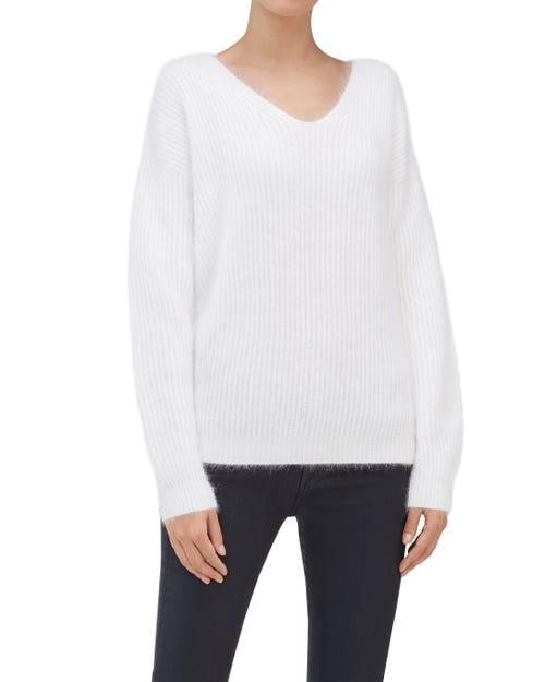 SLOUCHY V-NECK SWEATER MIXED FABRICS OFF WHITE