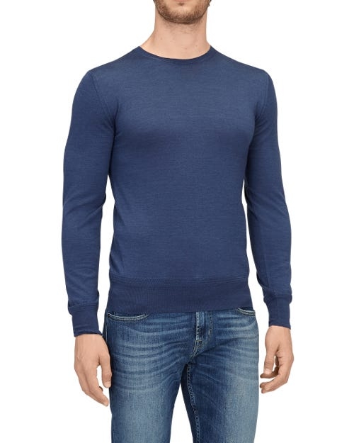 CREW NECK KNIT CASHMERE PRINT BLUE