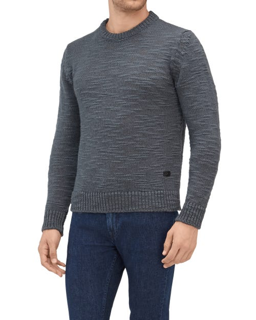 CREW NECK KNIT WOOL SLUB DARK GREY