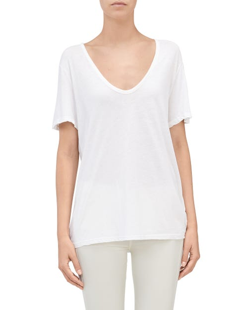 7 For All Mankind - Curved Neck Tee White