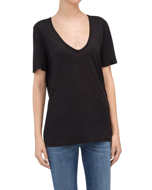 CURVED NECK TEE BLACK