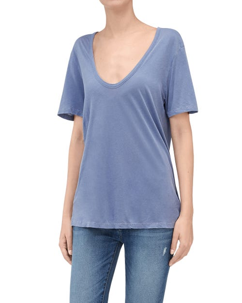 CURVED NECK TEE PERSIAN BLUE