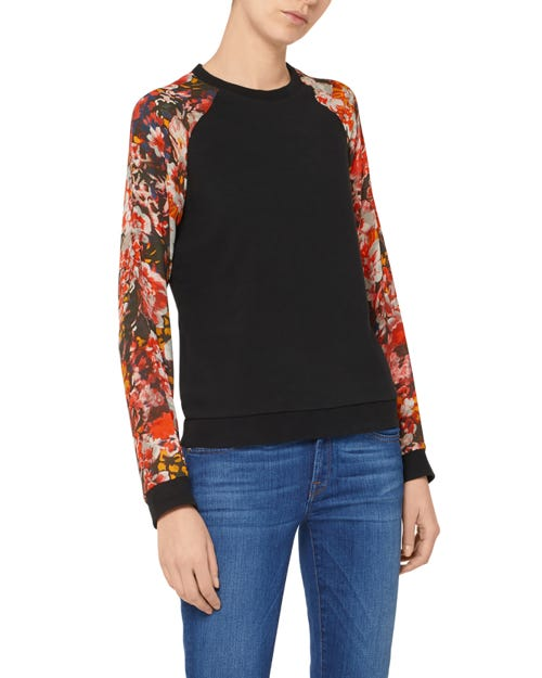 PRINTED SLEEVES SWEATSHIRT COTTON BLACK