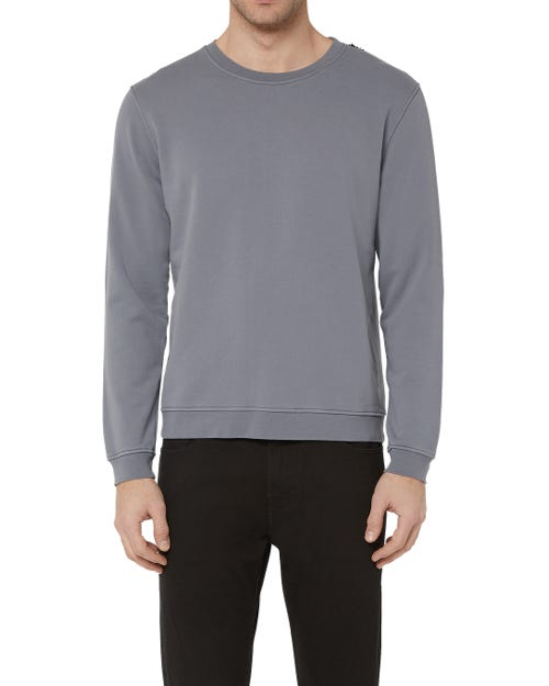 CREW NECK SWEAT COTTON GREY WITH BLACK