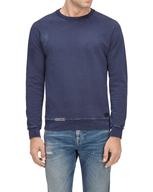 CREW NECK SWEAT COTTON DISTRESSED NAVY