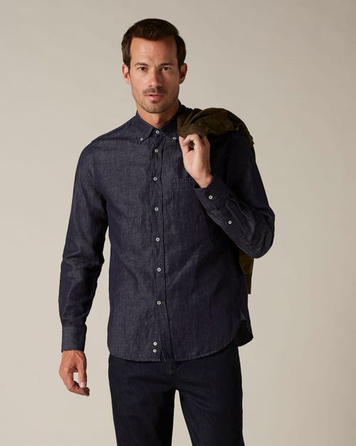BUTTON DOWN SHIRT COTTON LINEN RINSE BLUE