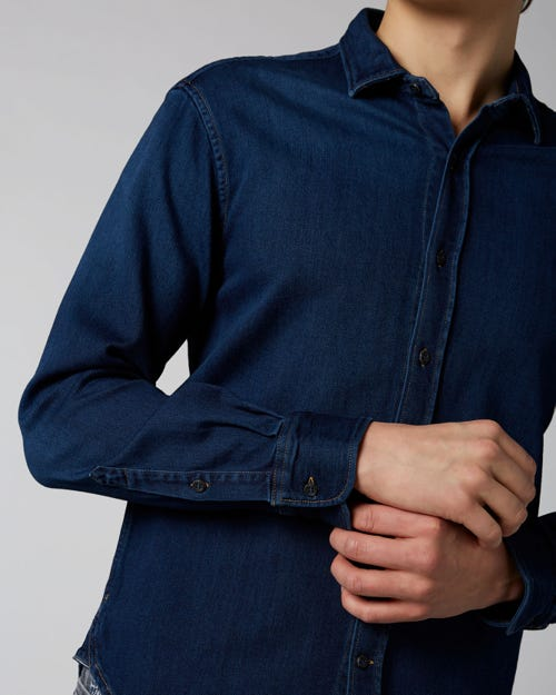 PLAIN SHIRT STRETCH DENIM DARK BLUE