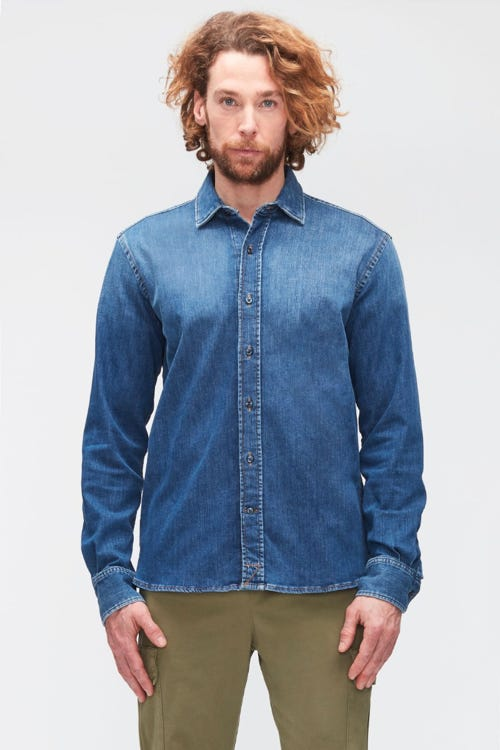 PLAIN SHIRT LUXE PERFORMANCE MID BLUE