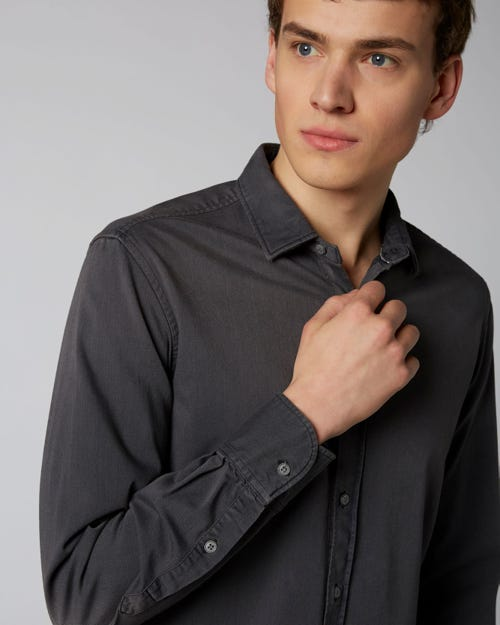 PLAIN SHIRT STRETCH DENIM WASHED BLACK