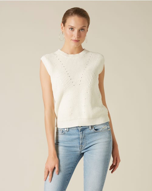 SLEEVELESS KNIT COTTON WOOL POINTELLE MILK