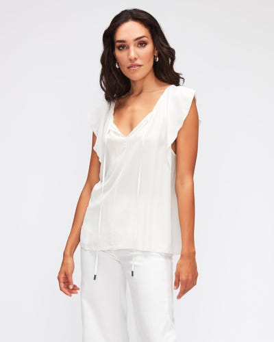 FLOATER SLEEVES TOP ACETATE SILK  OFF WHITE