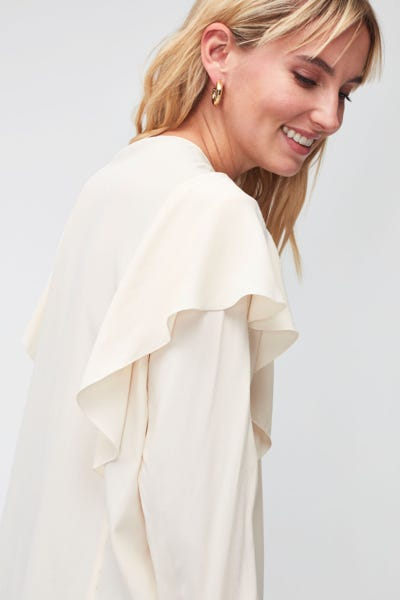 RUFFLE BLOUSE ACETATE SILK  WINTER WHITE