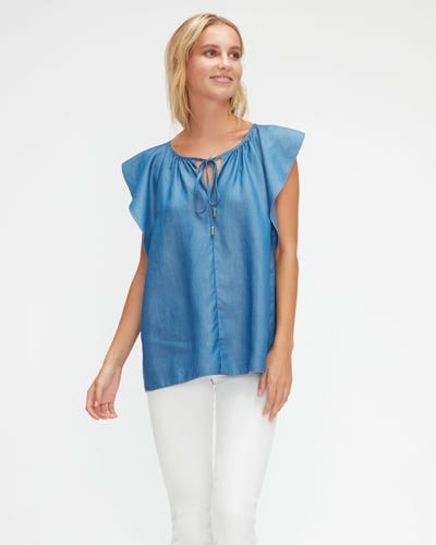 FLOATER SLEEVES TOP TENCEL  LIGHT BLUE