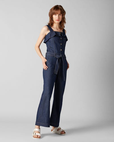 7 For All Mankind - Overall Topanga Rinse Indigo With Ruffles