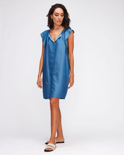 FLOATER SLEEVES DRESS TENCEL  LIGHT BLUE