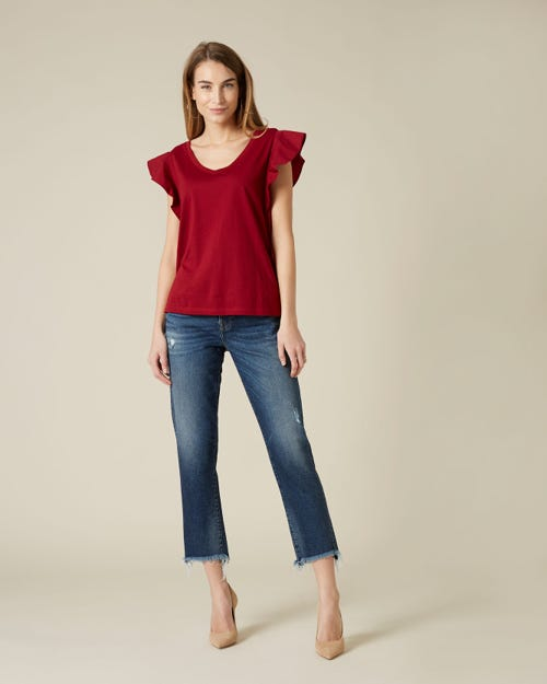 ASHER LUXE VINTAGE OUR WAY DISTRESSED WITH UNEVEN FRINGED HEM