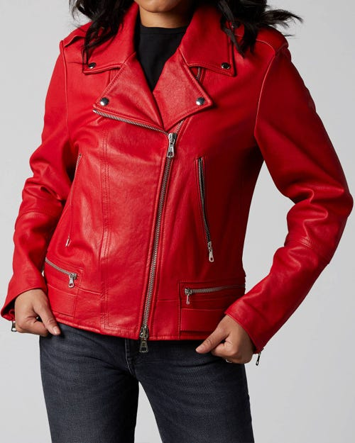 7 For All Mankind - Moto Jacket Leather Red