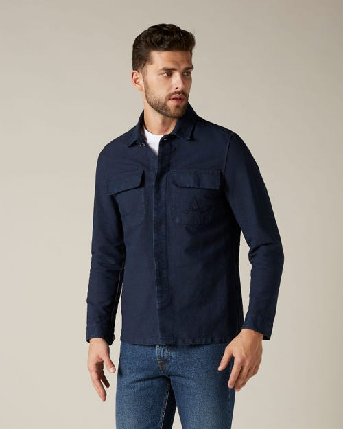 OVERSHIRT HEAVY COTTON LINEN NAVY