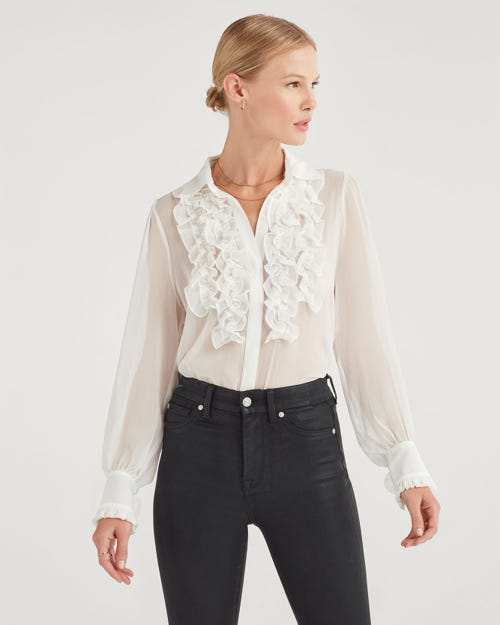 RUFFLE YOKE TOP SOFT WHITE