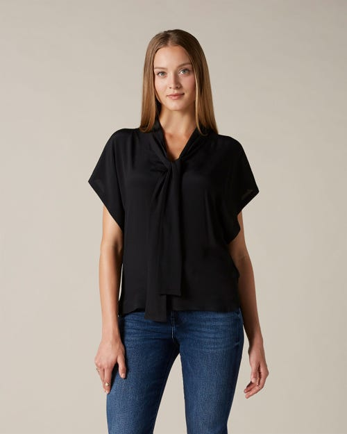 BOW SHIRT VISCOSE SILK BLACK