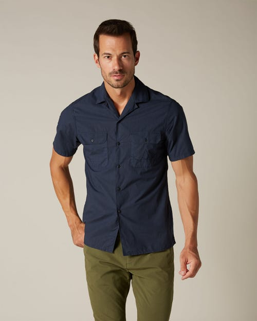 CAMP COLLAR SHIRT SHORT SLEEVE COTTON NAVY