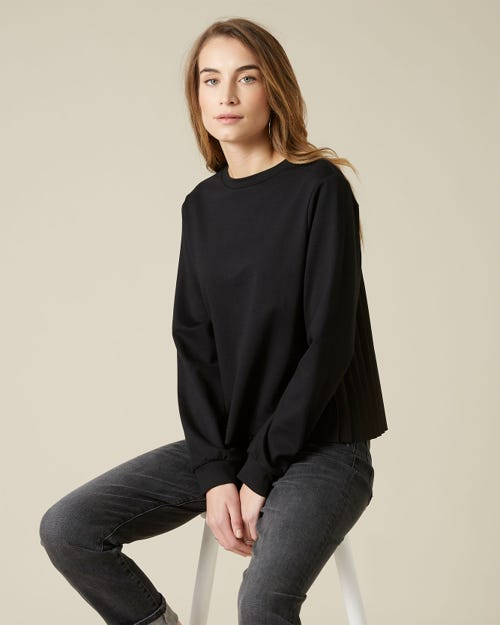 SWEATSHIRT COTTON MODAL PLEATED BACK BLACK