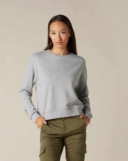 SWEATSHIRT COTTON GREY MELANGE WITH SILVER CHAINS
