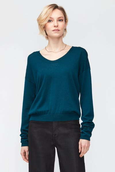 U-NECK KNIT MERINO WOOL  PEACOCK