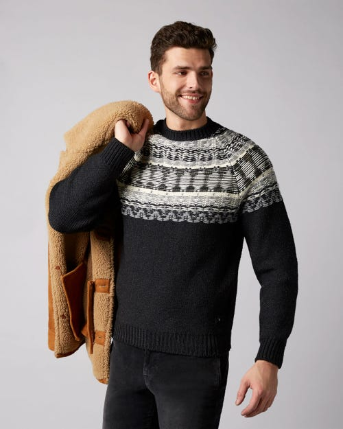 7 For All Mankind - Crew Neck Knit Jacquard Wool White & Grey
