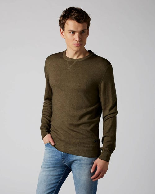 7 For All Mankind - Crew Neck Knit Wool Merino Army