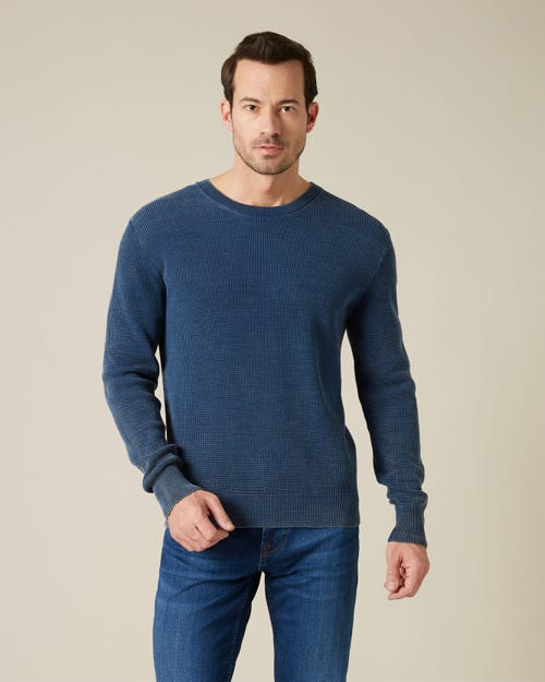 CREW NECK KNIT COTTON FASHION INDIGO