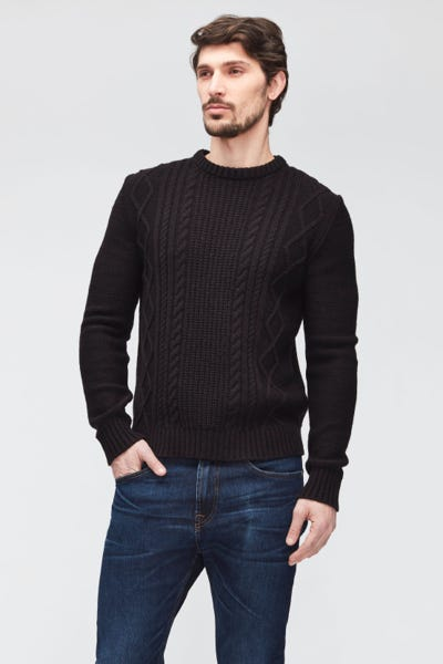CABLE KNIT MIXED FABRICS  BLACK