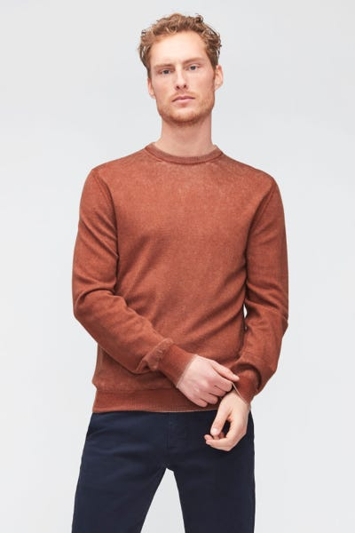 CREW NECK KNIT MERINO FAST DYE  BURNT ORANGE