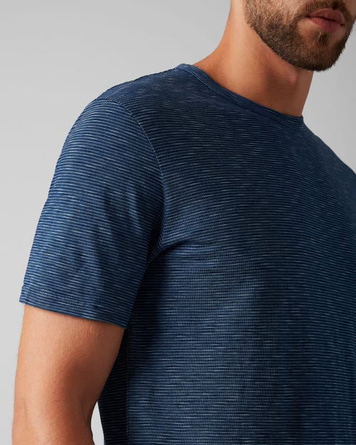 7 for all Mankind - T-SHIRT COTTON STRIPES INDIGO