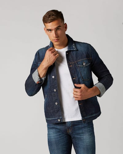WESTERN JACKET BIG BEND MID BLUE WITH EMBRO