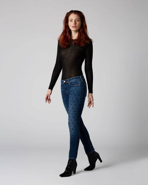 7 For All Mankind - Pyper Crop Slim Illusion Old Song With Polka Dots