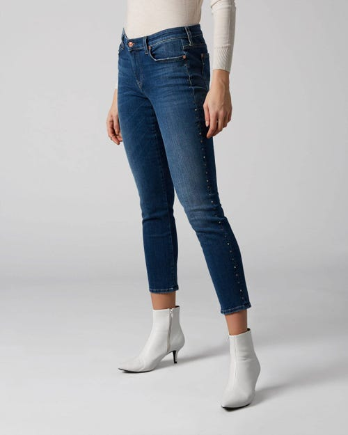 7 For All Mankind - Pyper Crop Slim Illusion Old Song With Rhinestones Outseam