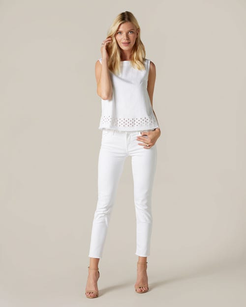 PYPER CROP UNROLLED SLIM ILLUSION PURE WHITE
