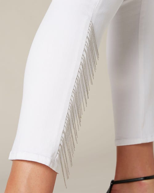 PYPER CROP SLIM ILLUSION PURE WHITE OUTSEAM METAL FRINGES